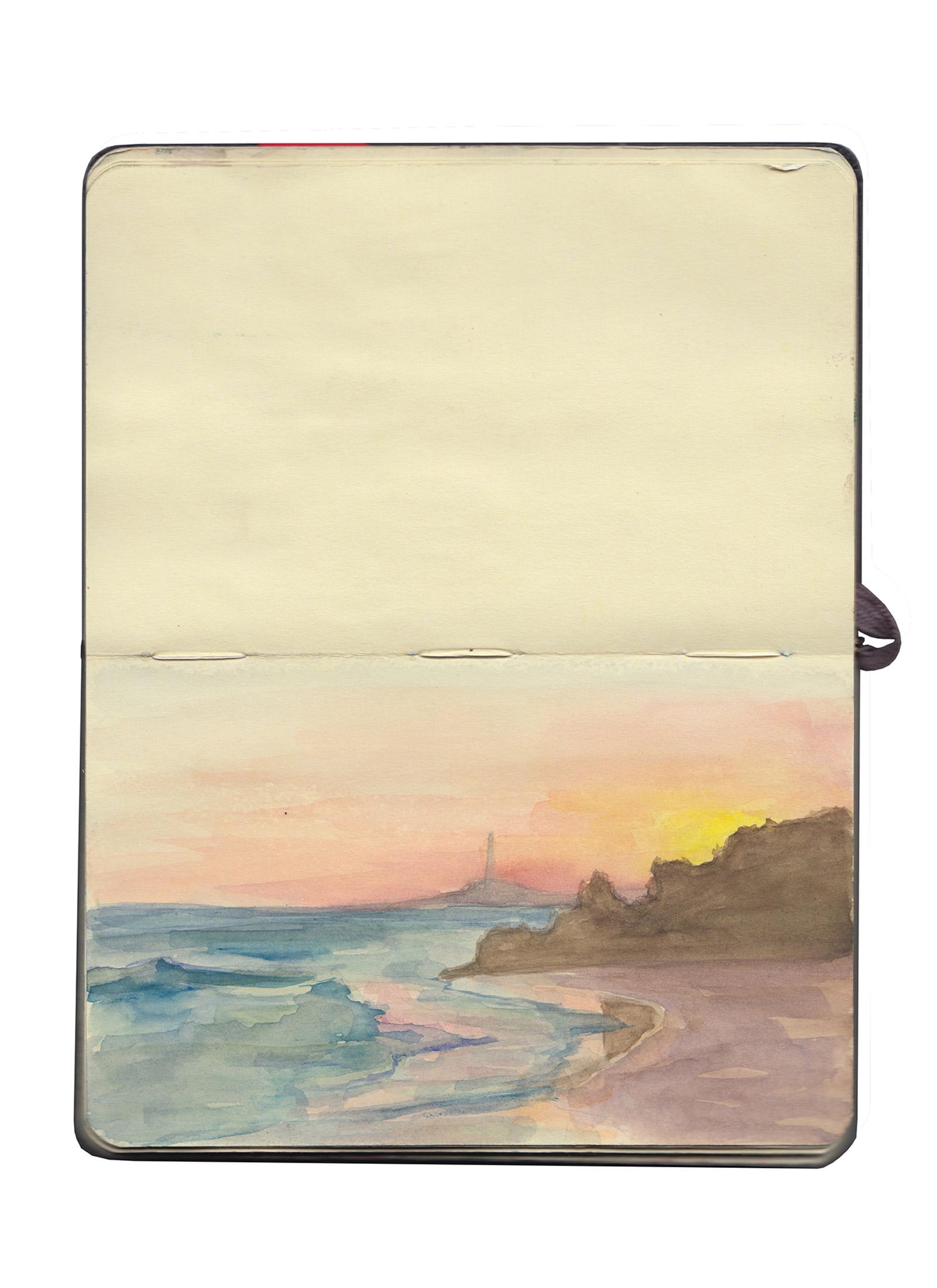 Atardecer en el faro de Conil, Cádiz, España Acuarela de 6 minutos sobre cartulina de Moleskine Sketchbook de 9x14 cm Septiembre 2012